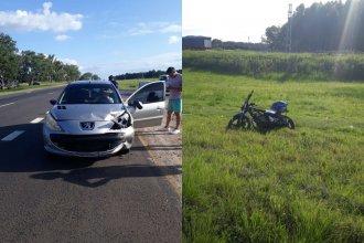Chocaron en la Autovía Artigas y el conductor de la moto resultó lesionado