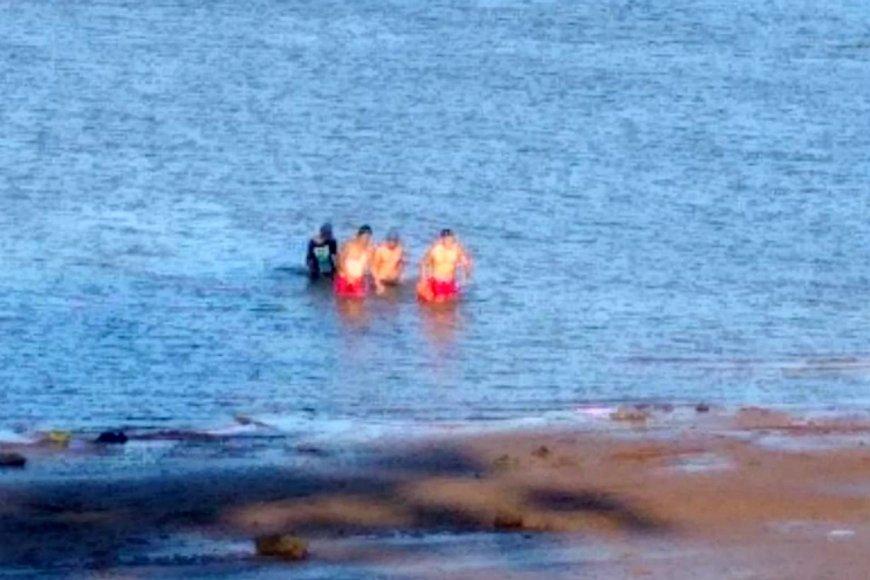 Aquí el momento en que llegan a la orilla.