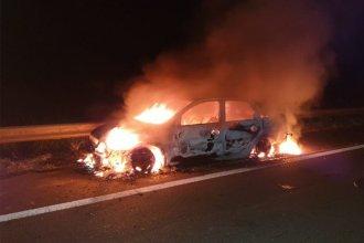 El fuego consumió por completo a un auto en la ruta 14