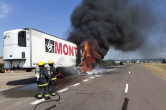 En plena autovía, se incendió un camión que transportaba verduras y lácteos