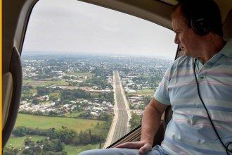 """Bordet recorrió en helicóptero la capital provincial y destacó que """"hay muy poco movimiento"""""""