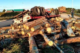 Troncos en la autovía 14: la explosión de una cubierta habría provocado el vuelco