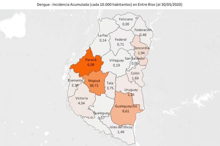El mapa elaborado por investigadores entrerrianos.