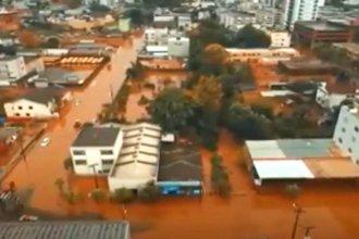 Imágenes aéreas reflejan la inundación en la naciente del río Uruguay por las intensas lluvias