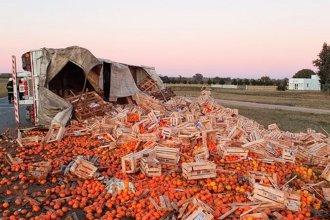 Volcó un camión con frutas y verduras sobre ruta 51: dos camioneros entrerrianos resultaron heridos