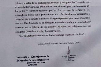 """""""En defensa de los trabajadores y representantes gremiales"""": Sindicato denuncia a empresa avícola"""
