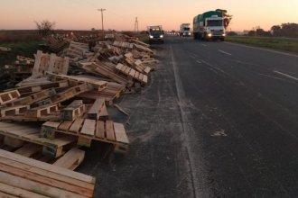 Sobre la autopista, camión perdió su carga y dejó esparcidos palets de madera