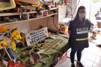 Hallaron armas de fuego y cartuchos en una tapicería concordiense: detuvieron a una persona