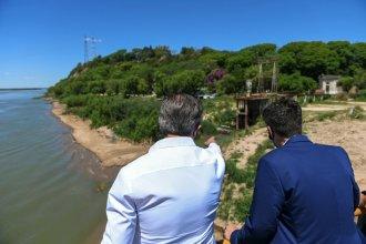 Bahl y Cresto, la foto que se repite: recorrieron obras para hacer frente a la bajante del río