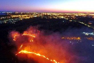 Bomberos intentan sofocar un incendio forestal en Concordia: Vecinos ven de cerca el fuego