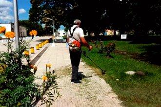 Intendente entrerriano utilizó el feriado para cortar el pasto en su localidad