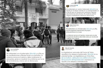 El oficialismo repudió los ataques frente a la casa de Bordet