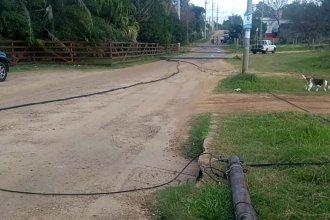 Camión enganchó varios postes y dejó sin luz a una zona de la ciudad