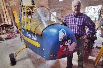 """A los 81 años, construyó un avión en su carpintería: """"Es una ilusión salir a volar en algo hecho por mí"""""""