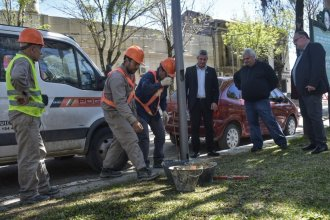 Avanzan las obras de iluminación con led en calles céntricas de Colón