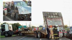 Una camioneta y un camión colisionaron en Ruta 18