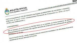 Auxilio: Nación adelantó $ 300 millones a Entre Ríos