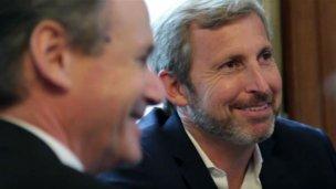 Entre sonrisas, Frigerio y Bordet acordaron obras en la Defensa Sur