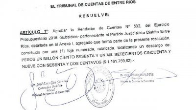 El Tribunal de Cuentas le aprobó la rendición de un subsidio al FPV