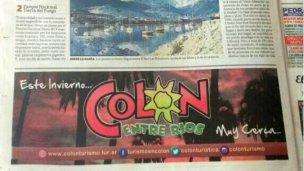 Colón promociona en Clarín y Olé