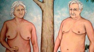 Hay polémica por cuadro en el que Mujica está desnudo