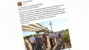 La reacción de Urribarri contra Macri por el puente de Ruta 19
