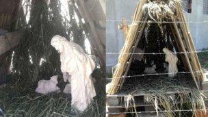 Robaron la estatua de la Virgen de un pesebre navideño