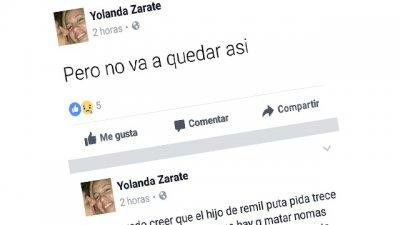 La pareja de Alfonzo publicó un mensaje amenazante en Facebook