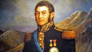 San Martín, con pintura y frase alegórica