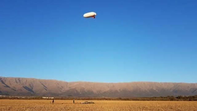 El aerostato en vuelo