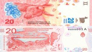 Con un guanaco por Rosas, entra en circulación el billete de 20 pesos