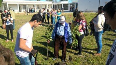 Abuelos plantaron árboles en una nueva escuela