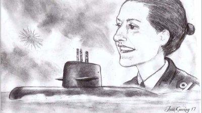 Busca un muro para plasmar el rostro de la primera submarinista