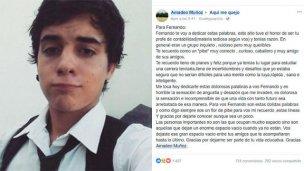 Caso Pastorizzo: un profesor le escribió una carta de despedida