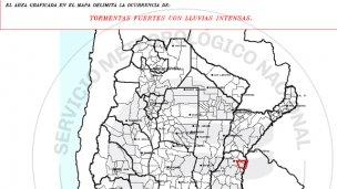 Aviso de corto plazo: Tormentas en el norte entrerriano