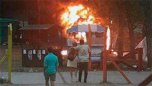 Incendio intencional: quemaron baños químicos en Gualeguay