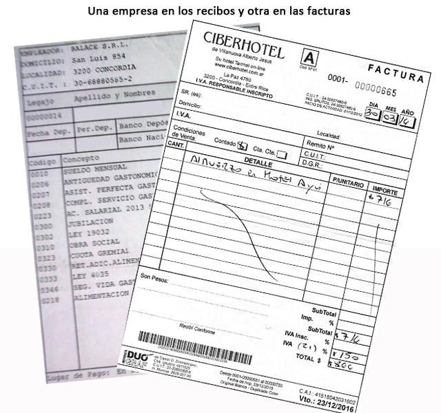 El recibo de sueldos a nombre de Balace SRL y las facturas con el CUIT de Villanueva