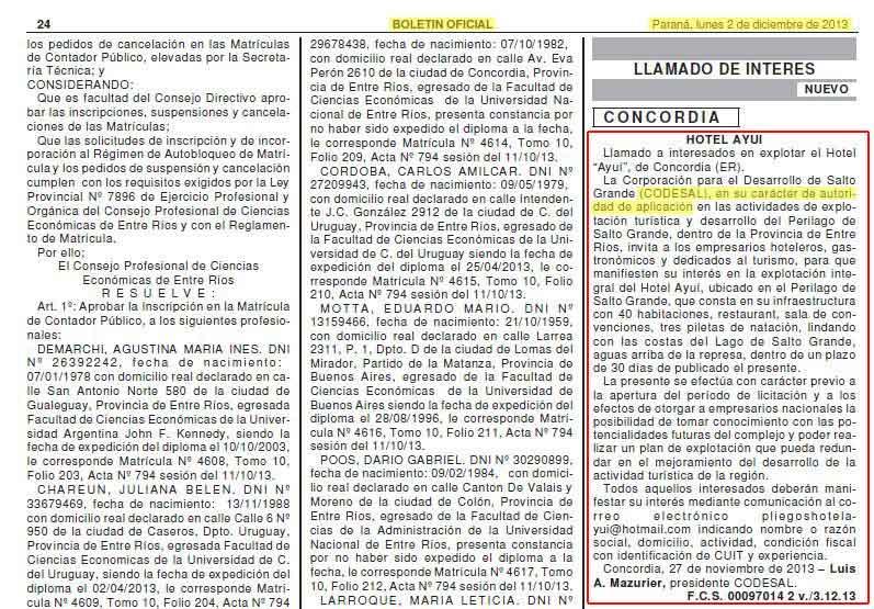 El Boletín Oficial donde la CODESAL llama a interesados en explotar el Hotel